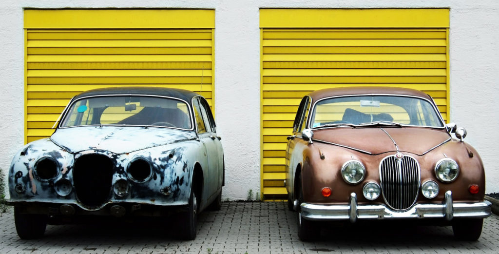 Automobile prima e dopo il lavoro contro la ruggine in carrozzeria